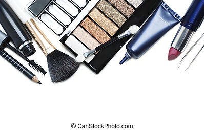 make up set - Various cosmetics isolated over white
