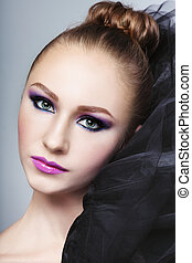 Make-up - Portrait of young beautiful girl with stylish...