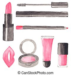 Make up stuff. Set of watercolor beauty items on the white background, aquarelle.  Vector illustration. Hand-drawn background.