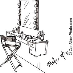 Make up. Vanity table and folding chair illustration