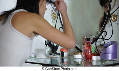Make-Up - Woman refresh makeup at home