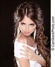make-up, vrouw, haarmanier, avond, black , beauty., vrijstaand, krullend, achtergrond., juwelen, mooi, foto