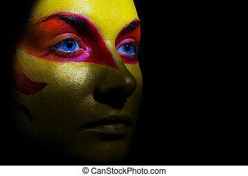 make-up, vrouw, zwarte achtergrond, mysterieus, vrijstaand, verticaal, face., artistiek, haar
