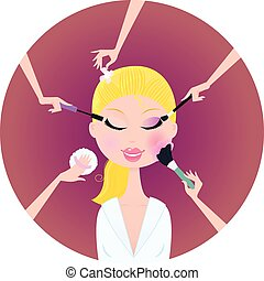 Beautiful blond woman in beauty salon. Mascara, blush sponge, powder and eye shadows - best way for perfect look! Stylized vector illustration.