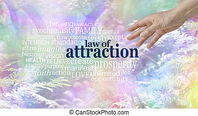 Make use of the Law of Attraction Word Cloud - female hand ...