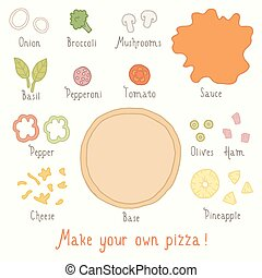 Make you own pizza set. Vector EPS 10 hand drawn...