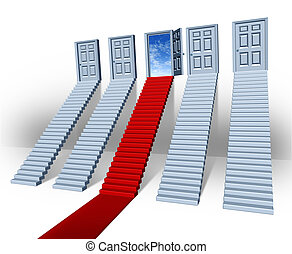 Make your choice business concept with many stairways and stairs leading to closed doors but one path in red carpet is the success direction to an open entrance with a bluesky as financial freedom and the persistence in winning sales.