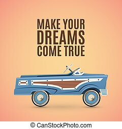 Vintage poster template with toy pedal car.