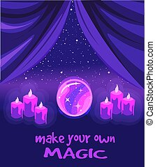 Make your own magic - violet poster about fortune telling. Crystal ball and candles under a starry sky.