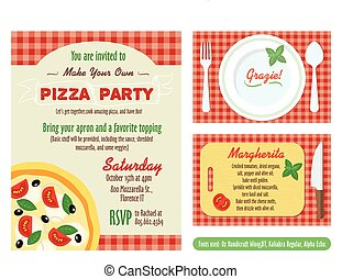 Make Your Own Pizza Party Invitation Set. Recipe Card. Grazie Thank You