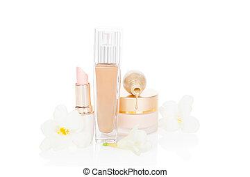 maken, schoonheidsmiddel, op, vrouwelijk, products., beige