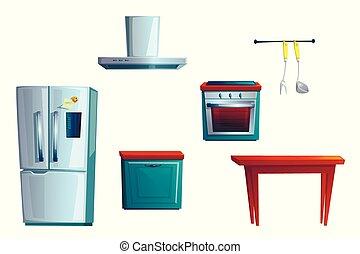 makend, spotprent, meubel, interieur, set, keuken