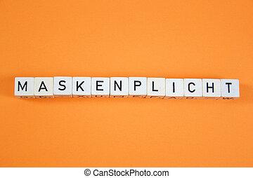 ¿?, makenpflicht, compulsory, máscaras, alemán, palabra