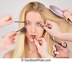 makeover, mujer, maquillaje, obteniendo