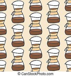 maker., café, illustration., padrão, gotejamento, seamless,...