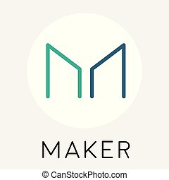 Maker (MKR) cryptocurrency coin logo - blockchain vector