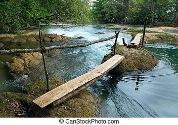 makeshift river crossing