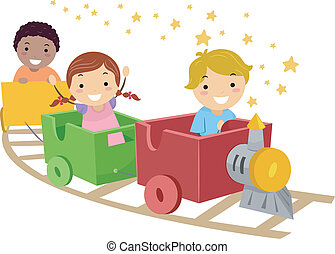 Makeshift Train - Illustration Featuring Kids Riding a Train