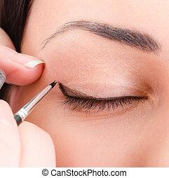 makeup, aan het dienen, schoonheidspecialist, kunstenaar