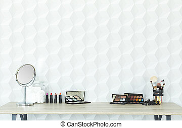 Makeup accessories on a desk