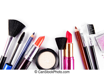 makeup and brushes cosmetic set isolated on white