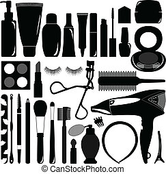 A set of silhouette representing makeup and cosmetic product.
