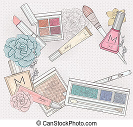 Makeup and cosmetics background. Background with makeup elements and flowers.