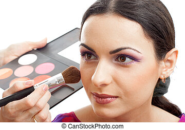 Makeup applying blusher