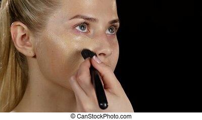 Makeup. Applying foundation. Black. Closeup