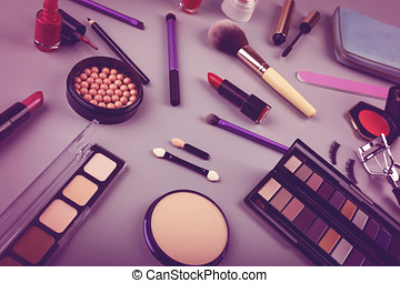 makeup artist cosmetics set on the table