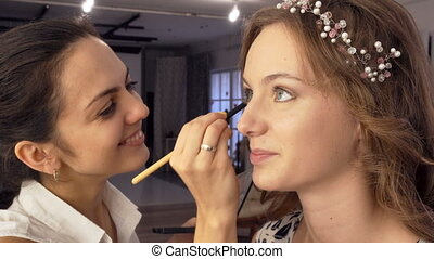 makeup artist doing makeup for model