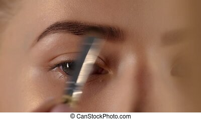 Makeup artist eyebrows with the brush. Closeup