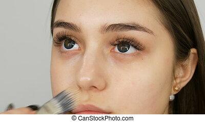 Makeup artist makes makeup girl model. Special brush applies...