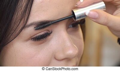 makeup artist paints the eyebrows of the model in the Studio, close-up