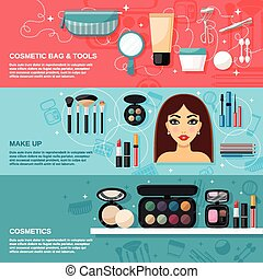 Makeup horizontal banner set with cosmetic bag and tools elements isolated vector illustration