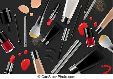 Landing Page Template For Cosmetic Online Shop And Makeup Tools Header For Website Vector Illustration
