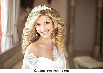 Makeup. Beautiful smiling Bride wedding Portrait with wedding hairstyle, Wedding dress