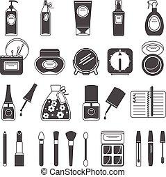 Makeup beauty accessories black icons set
