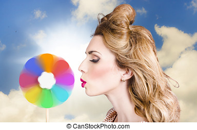 Makeup beauty girl blowing hair colors palette