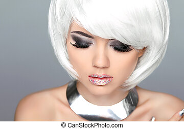 Makeup. Blond hairstyle. Fashion beauty girl model with white sh