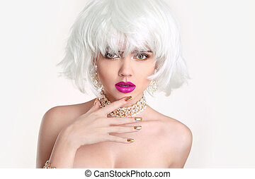 Makeup. Blond woman bob hairstyle