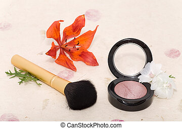 Makeup blusher rouge and brushes