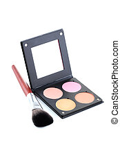 Makeup blusher with mirror isolated on a white
