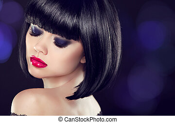 Makeup. Bob short haitstyle. Sexy girl model with naked shoulder