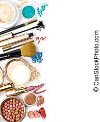 makeup borstel, en, schoonheidsmiddelen
