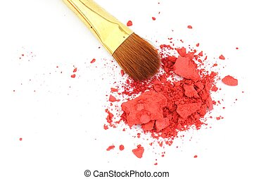 makeup brush and cosmetic powder isolated on white...