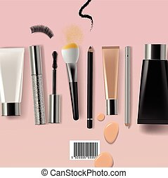Makeup professional brush and cosmetics, vector eps10 illustration.