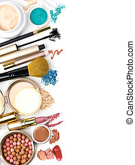 makeup brush and cosmetics, on a white background isolated,...