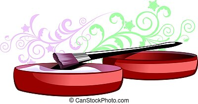 MakeUp Brush - Illustration of MakeUp Brush and face cake...