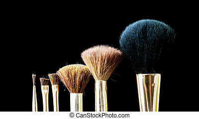 Makeup brush on professional cosmetic isolated on black background.